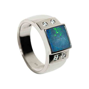 LAND AND SEA STERLING SILVER AUSTRALIAN BLACK OPAL MEN'S RING