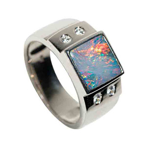 ELEMENTS OF THE EARTH STERLING SILVER AUSTRALIAN BLACK OPAL MEN'S RING