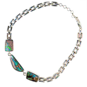 ELECTRIC RIVER STERLING SILVER NATURAL AUSTRALIAN OPAL BRACELET