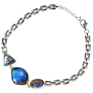 HOW DEEP IS YOUR LOVE STERLING SILVER NATURAL AUSTRALIAN OPAL BRACELET