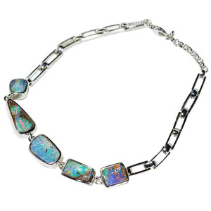 BLISSFUL TROPICAL GETAWAY STERLING SILVER NATURAL AUSTRALIAN OPAL BRACELET