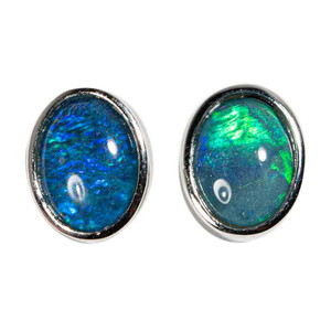 AURORA BOREALIS STERLING SILVER AUSTRALIAN BLACK OPAL EARRINGS