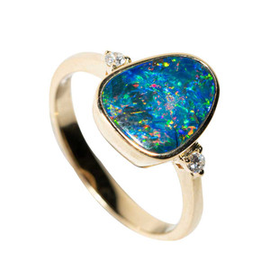 1 EARTH ANGEL 14KT GOLD & DIAMOND NATURAL AUSTRALIAN OPAL RING