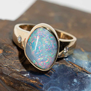 CANDYLAND ADVENTURE 14KT GOLD AND DIAMOND AUSTRALIAN OPAL RING
