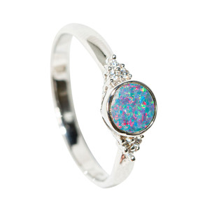 GLITTER POP STERLING SILVER AUSTRALIAN OPAL RING