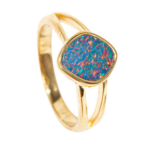 GOLDEN GLOW YELLOW GOLD PLATED AUSTRALIAN OPAL RING