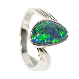 1 MOTHER NATURE'S BRUSHSTOKES STERLING SILVER AUSTRALIAN OPAL RING