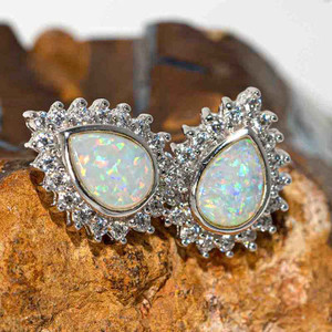 ARCTIC SPARKLE STERLING SILVER SOLID AUSTRALIAN WHITE OPAL STUD EARRINGS