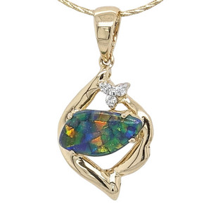 1 TWINKLING DAWN BLOSSOM 18KT YELLOW GOLD & DIAMOND AUSTRALIAN BLACK OPAL NECKLACE