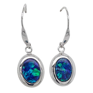 NORTHERN LIGHTS MIRROR 14KT WHITE GOLD AUSTRALIAN OPAL EARRINGS