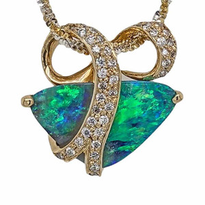 1 MAGIC OCEAN WAVE 18KT YELLOW GOLD & DIAMONDS AUSTRALIAN SOLID BOULDER OPAL NECKLACE