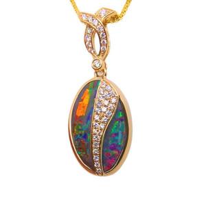 ENCHANTED MINERS SECRET, 14KT YELLOW GOLD & DIAMONDS AUSTRALIAN SOLID BOULDER OPAL NECKLACE,