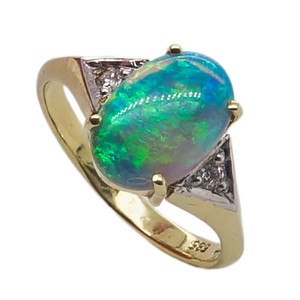 ANGELS PRIDE, 14KT YELLOW GOLD & DIAMOND AUSTRALIAN OPAL RING