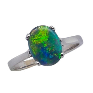 DREAM OF A SUMMER DAWN, 9KT WHITE GOLD AUSTRALIAN OPAL RING