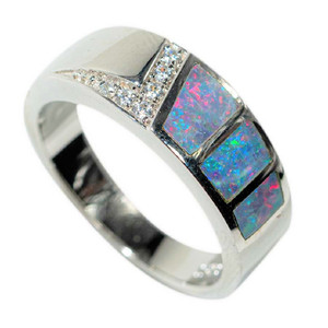 A UNICORN DREAM STERLING SILVER AUSTRALIAN OPAL RING