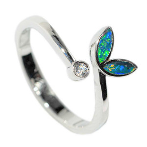 GLISTENING LOTUS FRAGMENTS STERLING SILVER AUSTRALIAN OPAL RING