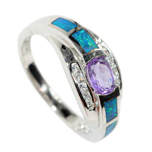 1 ROYAL RIVER STERLING SILVER & AMETHYST AUSTRALIAN OPAL RING