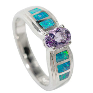 OUT OF THIS WORLD STERLING SILVER & AMETHYST AUSTRALIAN OPAL RING
