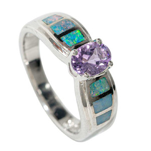 LITTLE WONDERS STERLING SILVER & AMETHYST AUSTRALIAN OPAL RING
