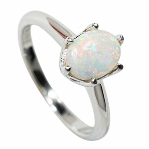 ETHEREAL CLOUDS STERLING SILVER SOLID AUSTRALIAN WHITE OPAL RING
