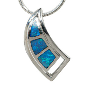 GLIMMERING SURFACE STERLING SILVER AUSTRALIAN OPAL NECKLACE