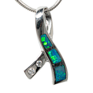 ILLUMINATED RIBBON ROAD STERLING SILVER AUSTRALIAN OPAL NECKLACE