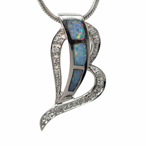 JOURNEY TO THE MOON STERLING SILVER AUSTRALIAN OPAL NECKLACE