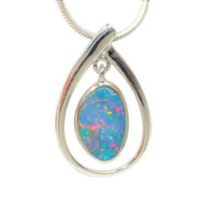 GLORIOUS NEW MOON STERLING SILVER AUSTRALIAN OPAL NECKLACE