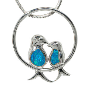 BIRDS OF FIDELITY STERLING SILVER AUSTRALIAN OPAL NECKLACE