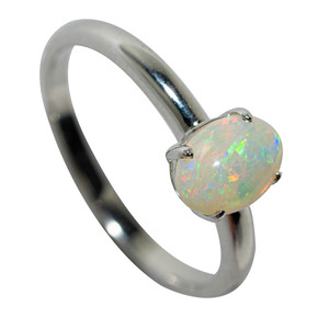 CELESTIAL COORDINATES STERLING SILVER SOLID AUSTRALIAN WHITE OPAL RING