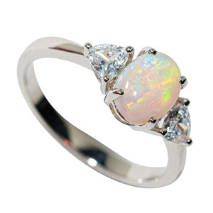FALLING SNOW STERLING SILVER SOLID AUSTRALIAN WHITE OPAL RING