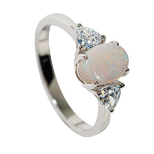 ICE CASTLE STERLING SILVER SOLID AUSTRALIAN WHITE OPAL RING