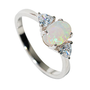 ARCTIC GLACIER STERLING SILVER SOLID AUSTRALIAN WHITE OPAL RING