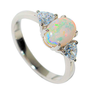 A WINTER SUNSET STERLING SILVER SOLID AUSTRALIAN WHITE OPAL RING