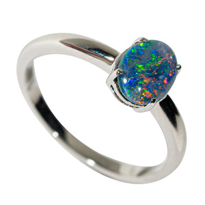 ANDROMEDA GALAXY STERLING SILVER AUSTRALIAN OPAL RING