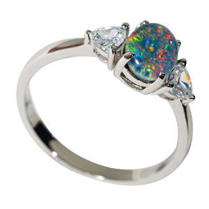 1 RAINBOW ROAD STERLING SILVER AUSTRALIAN OPAL RING