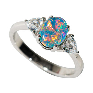 GOLD POP STERLING SILVER & TOPAZ AUSTRALIAN OPAL RING