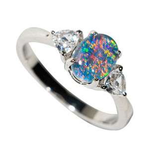 1 COLOR SPLASH STERLING SILVER &  TOPAZ  AUSTRALIAN OPAL RING