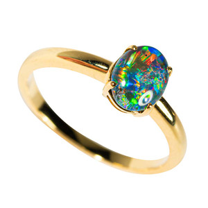 1 SPACE POP GOLD PLATED AUSTRALIAN OPAL RING