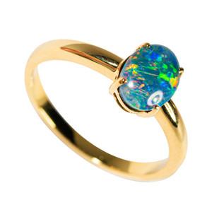 LUMINOUS SPACE VAPOR GOLD PLATED AUSTRALIAN OPAL RING