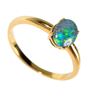 ILLUMINATED COSMO GOLD PLATED AUSTRALIAN OPAL RING