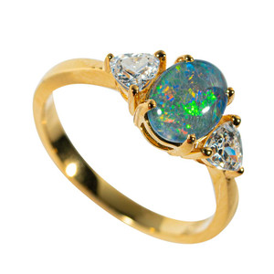 GALACTIC HALO GOLD PLATED AUSTRALIAN OPAL RING