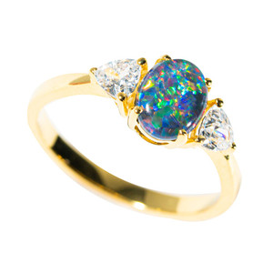 1 JUPITER'S GLOW GOLD PLATED AUSTRALIAN OPAL RING