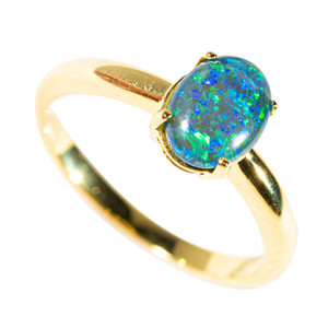FOREST GLOW GOLD PLATED AUSTRALIAN OPAL RING