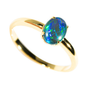 ELECTRIFIED TIDEPOOL GOLD PLATED AUSTRALIAN OPAL RING