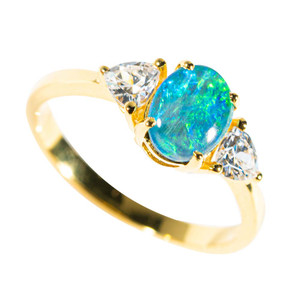 GLOW OF THE TROPICS GOLD PLATED AUSTRALIAN OPAL RING