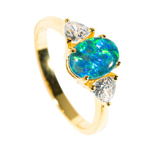 ILLUMINATED DREAMS GOLD PLATED AUSTRALIAN OPAL RING
