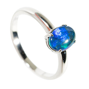 ILLUMINATED FIREFLY STERLING SILVER AUSTRALIAN OPAL RING