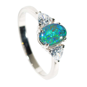 1 SEA RADIANCE STERLING SILVER AUSTRALIAN OPAL RING