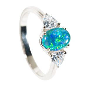 GLOWING IRIS STERLING SILVER AUSTRALIAN OPAL RING